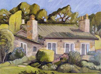 Stone cutters cottage painting by Jeremy harper